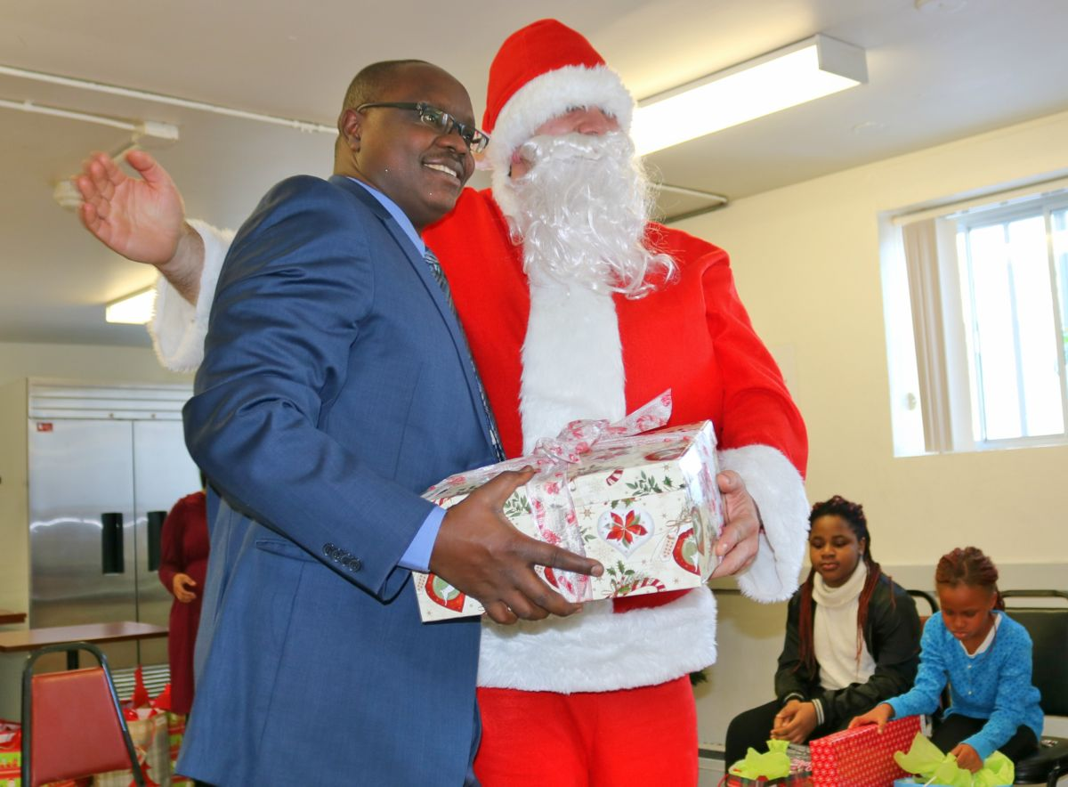 Santa hands out gift