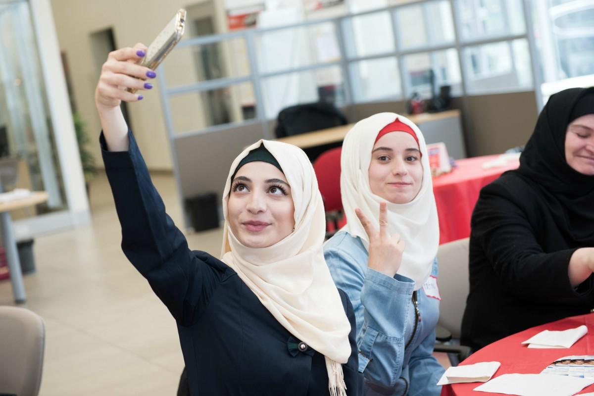 Two women take a selfie