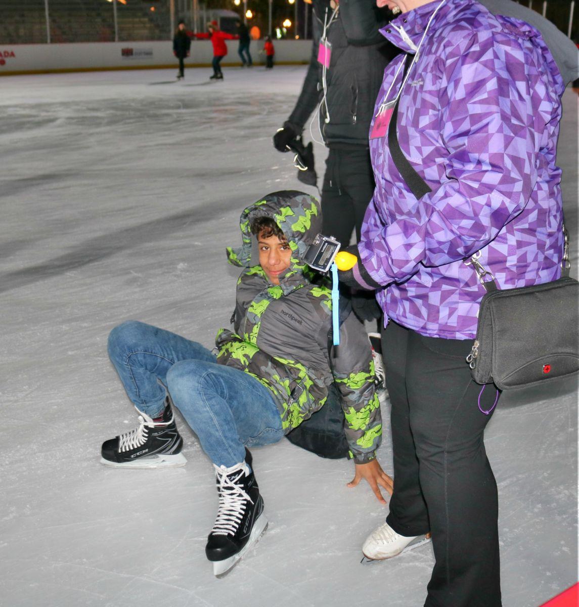 Young boy skating