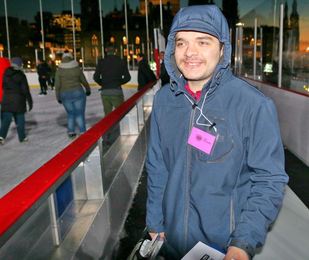 Young man at skating rink