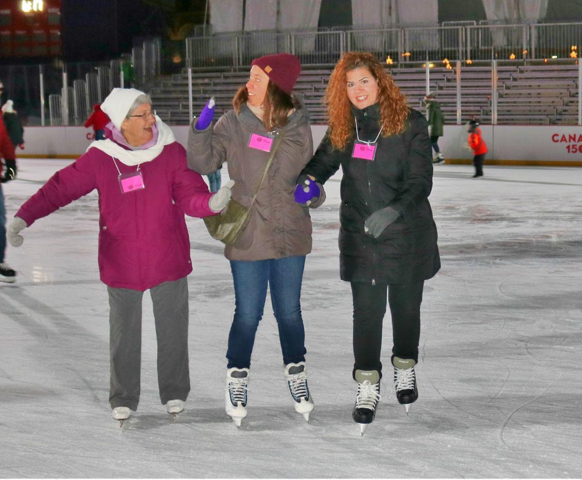 Three women skating