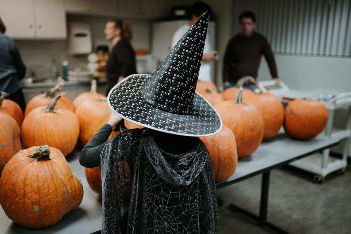 Girl dressed as witch looks at pumpkins