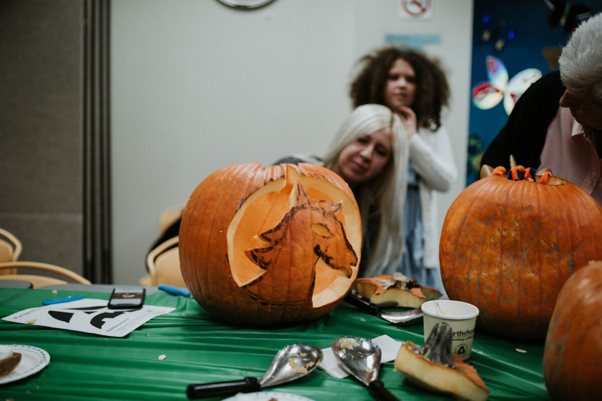 Pumpkin carved into a unicorn